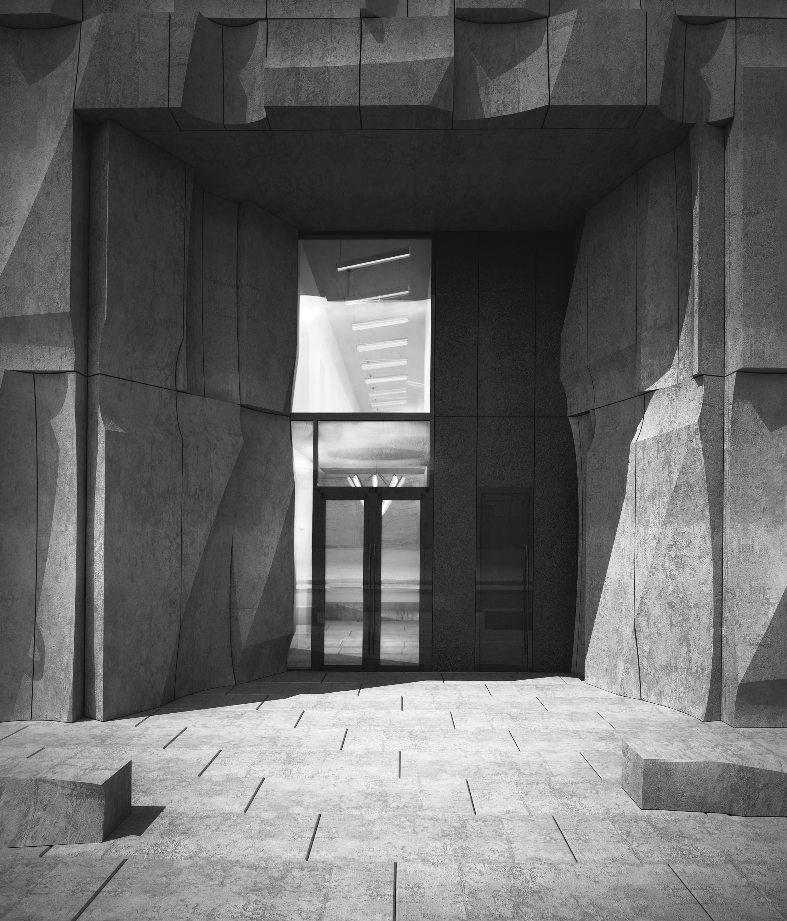View of sunken entrance space with carved panels folded at corners