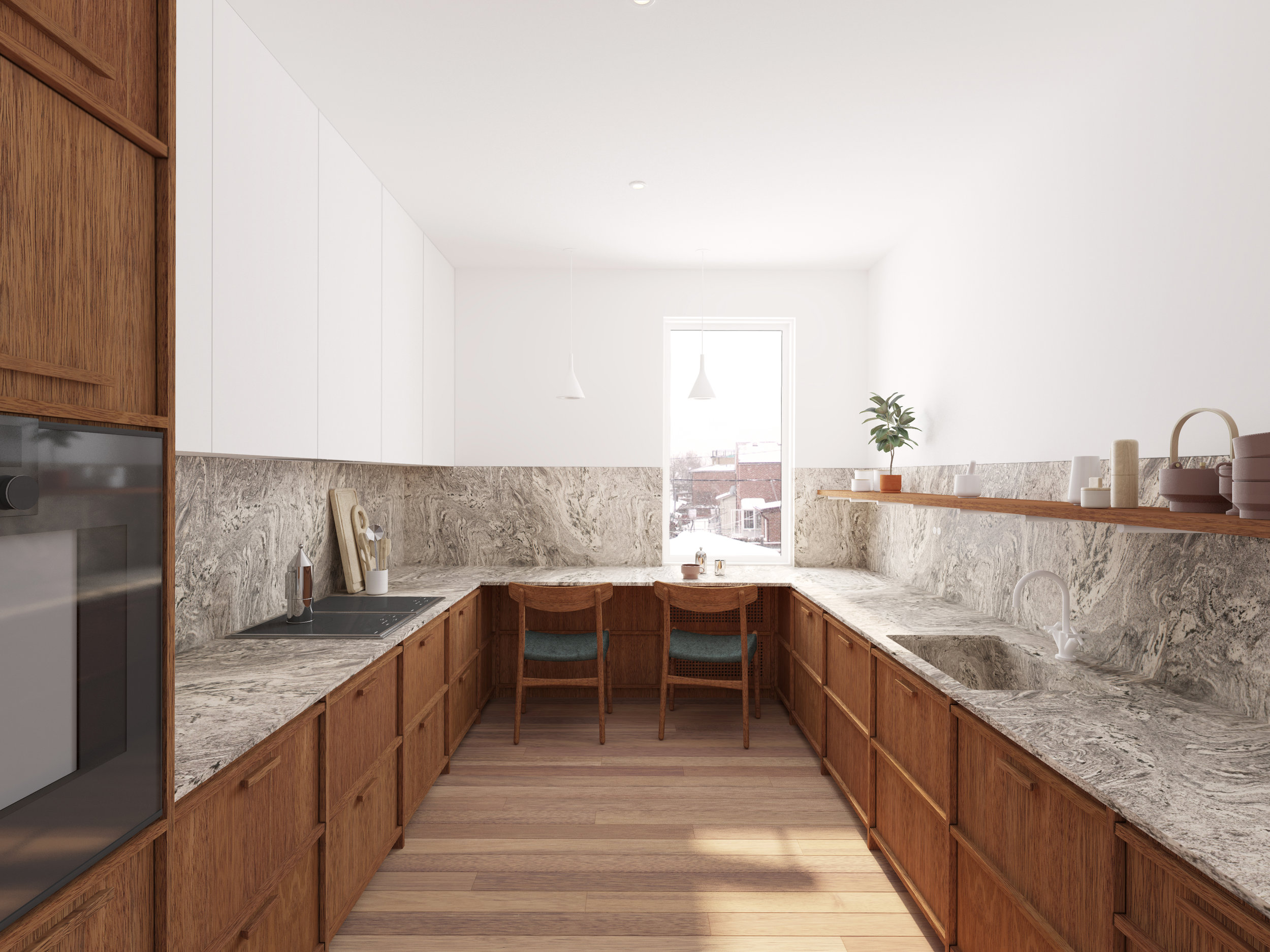 View of entire kitchen renovation, showing breakfast nook and wood cabinetry which lines the walls