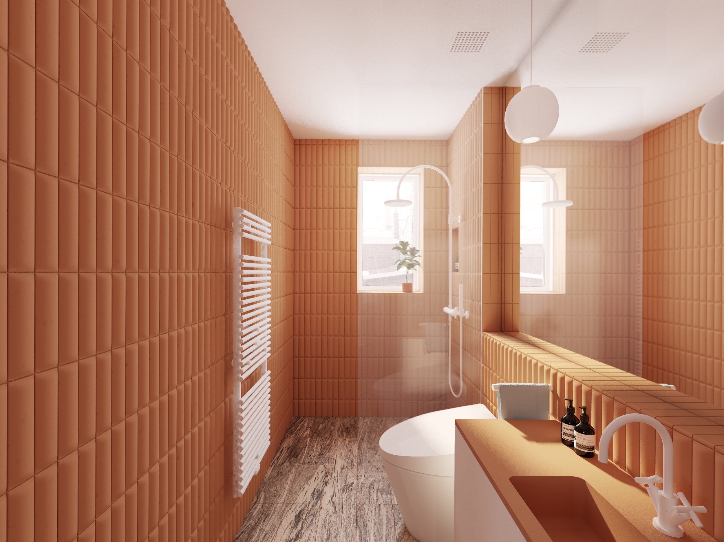 Bathroom renovation showing glazed shower and sculpted tile walls