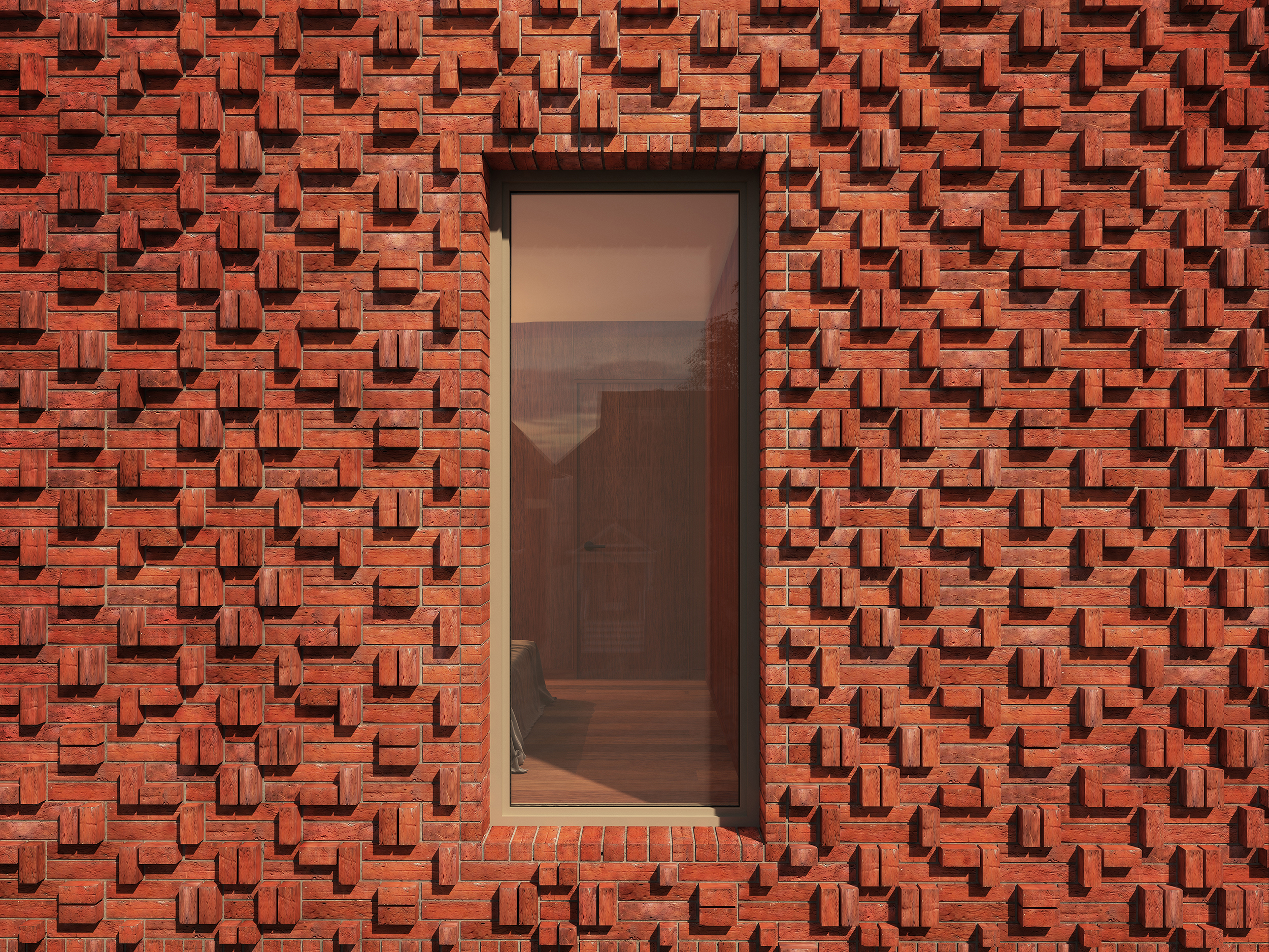 Exterior view with close up of brick pattern