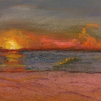 Sunrise in Ocean City, Maryland  Unframed, 7x7  Pastel, $200