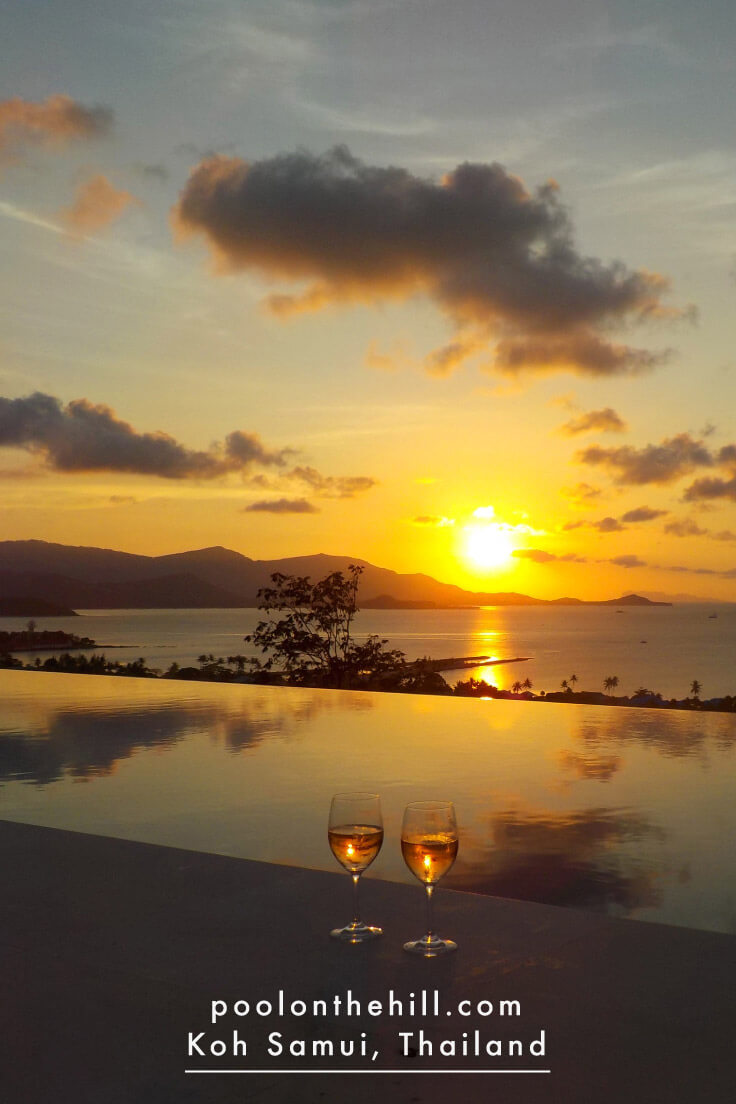 Sunset ocean views from our Koh Samui villa: The Pool on the Hill has ocean views from every room in the house, but those from the infinity pool at sunset might be the best!