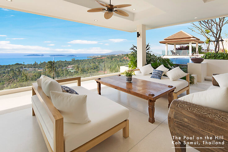 Koh Samui Villa for Families – Your FAQs:  The Pool on the Hill  offers variety of indoor and outdoor spaces throughout the villa, including this shaded outdoor living room with ocean views