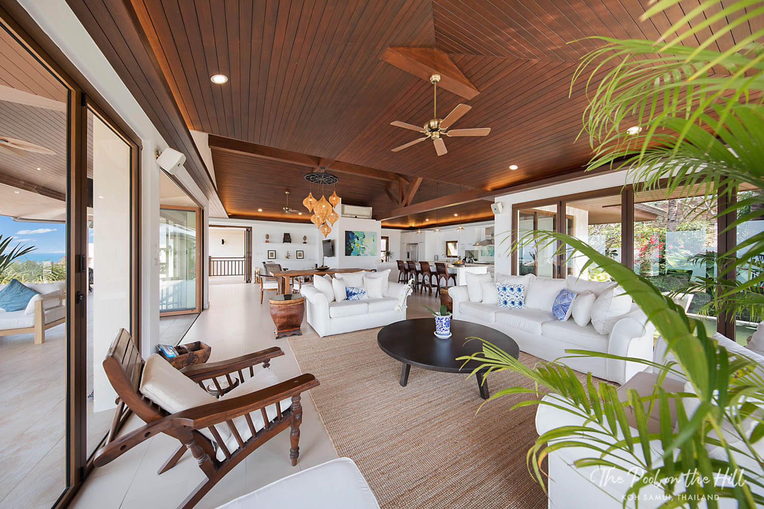 Thai villa: Enjoy indoor and outdoor living in the open-plan living room, dining and kitchen at The Pool on the Hill