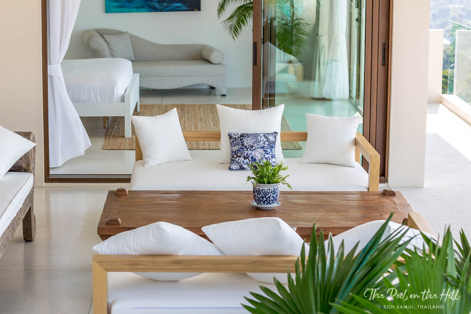 Thailand villa rental: The Pool on the Hill's outdoor living room is just off the second master bedroom