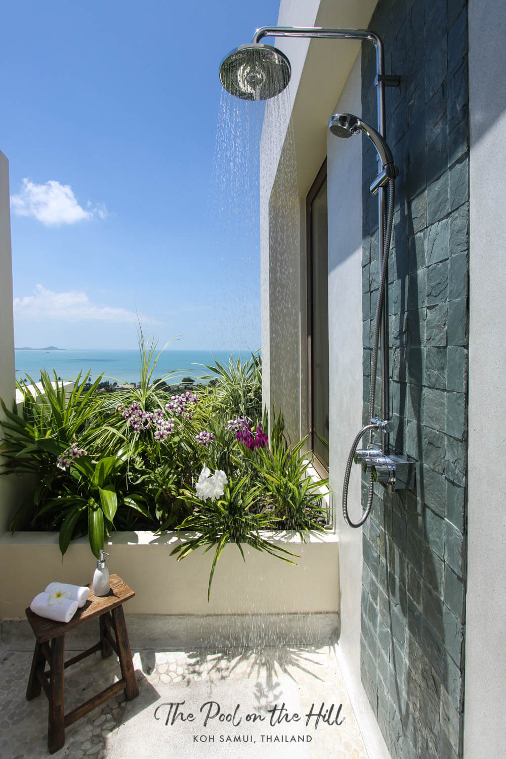 Koh Samui pool villa: The master bedroom's oceanview outdoor shower at The Pool on the Hill, near Choeng Mon Beach in Koh Samui, Thailand | #kohsamui #thailand #samui #travel #privatevilla