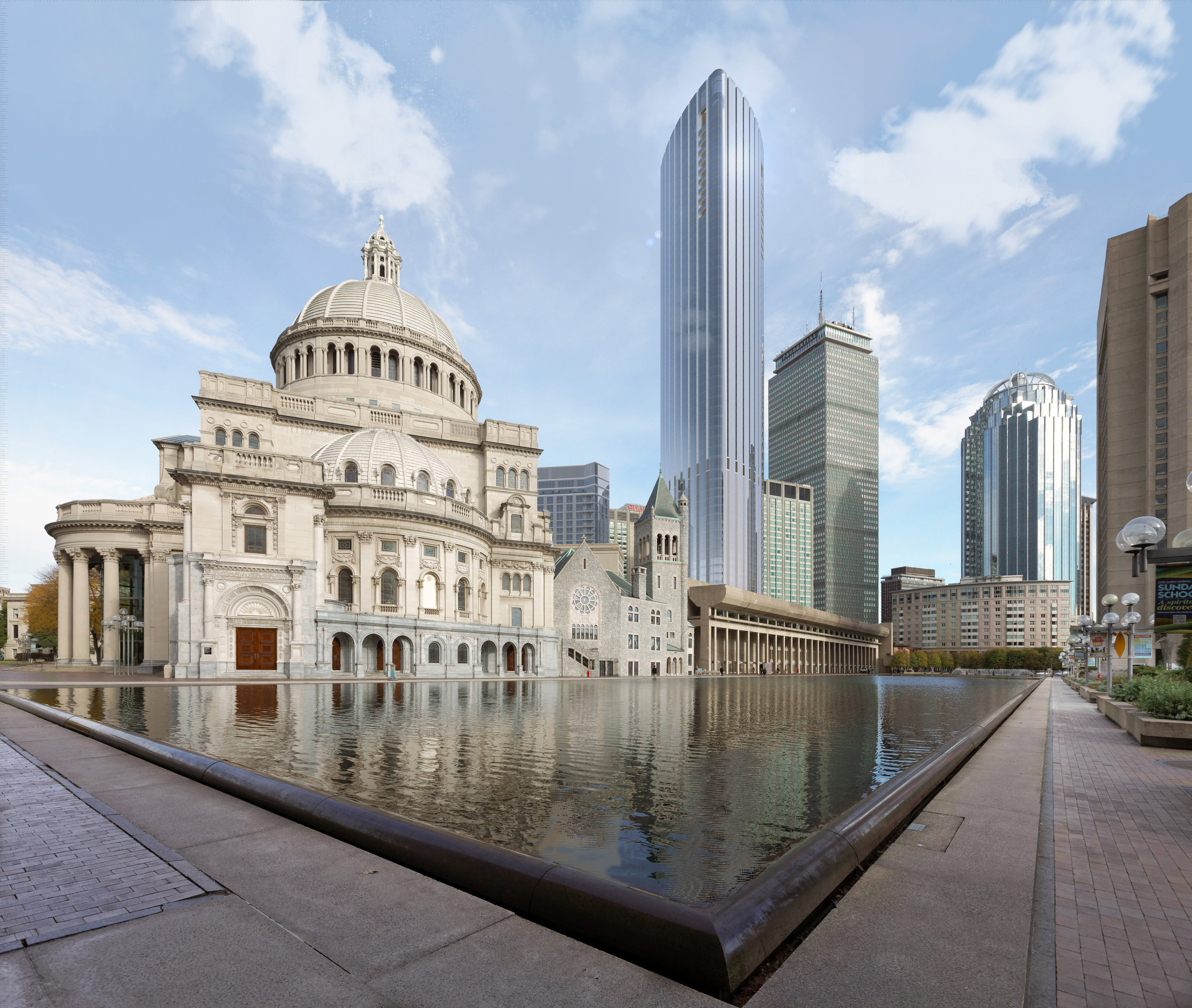Rendering of Tower within context of Christian Science Plaza