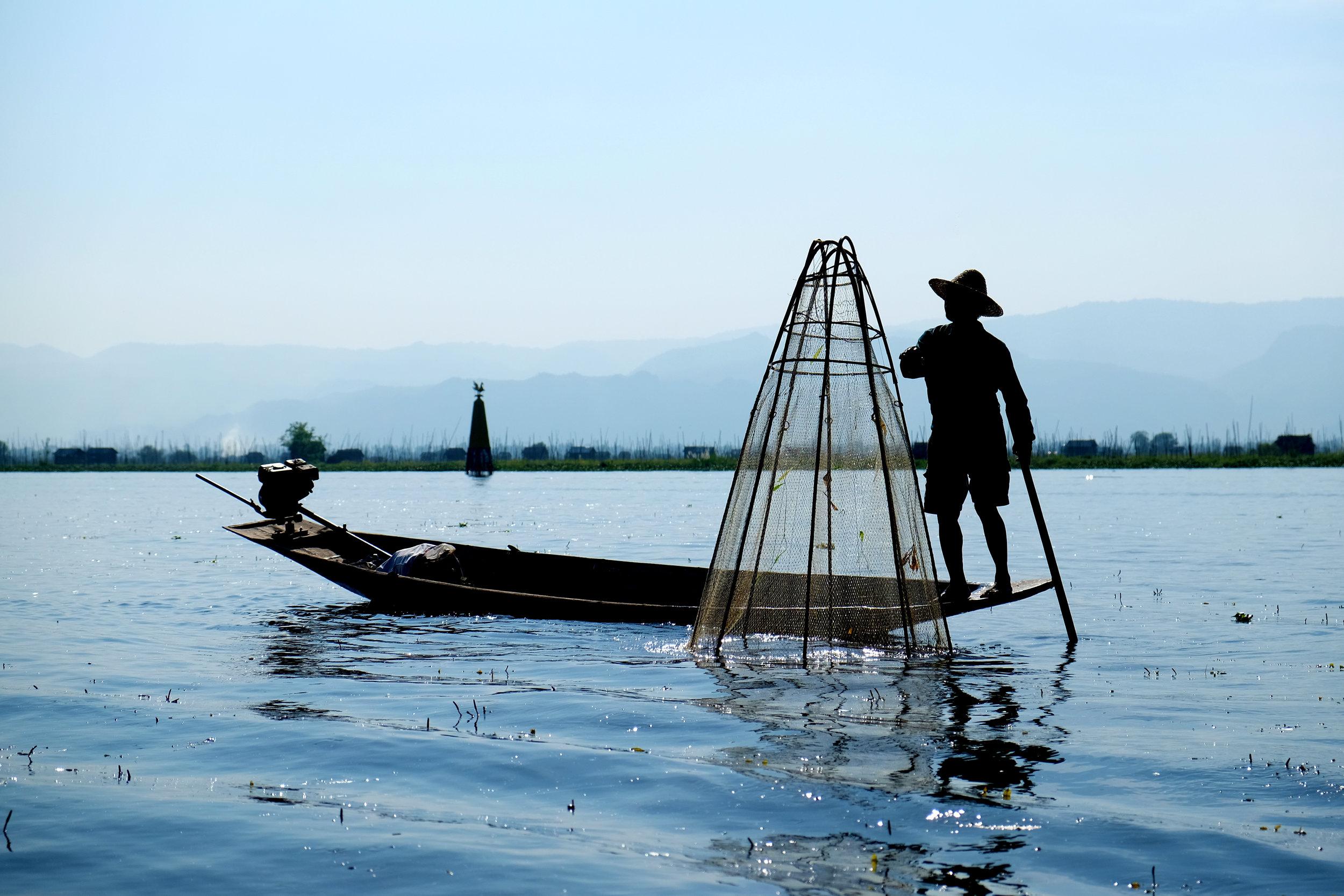 Inle Lake fisherman dropping his net