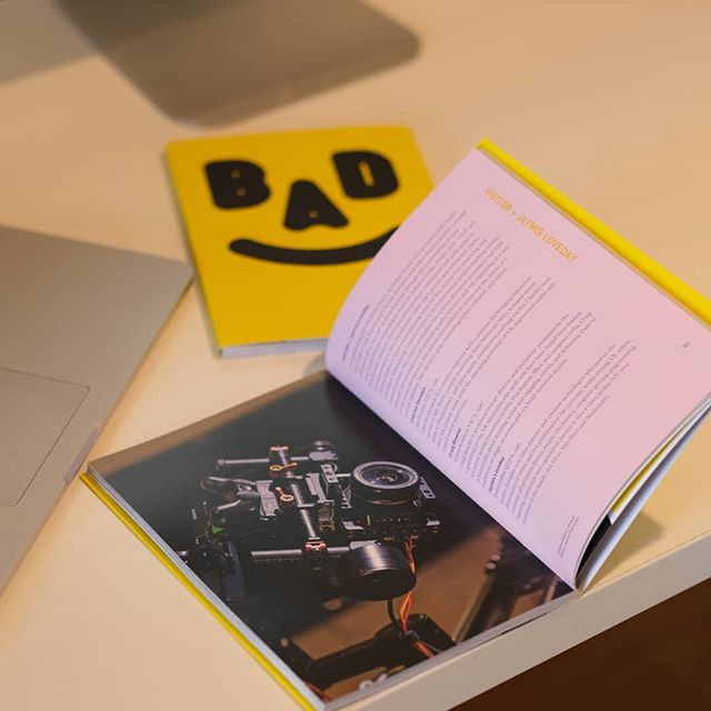 Thanks for the #badmob catalogues @museumofbrisbane nice to see our work wrapped up in that striking BAD graphic design.  BAD@MOB is open to the public at Museum of Brisbane right up until the 11th of August.  There's still plenty of time to check out Cinema Swarm alongside other creations from the Brisbane art and design community! . . . . . #vr #virtualreality #gaming #htcvive #unity #art#cinematography #robotics #interactive #immersive#XR #video #film #director #opensource #arduino