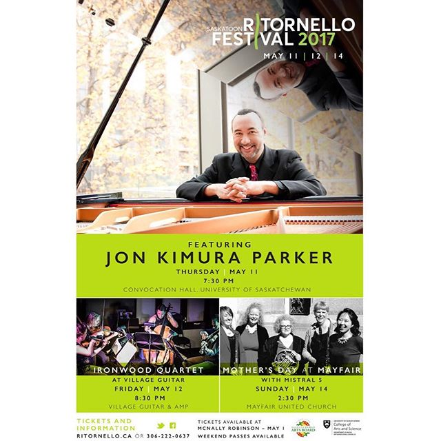 So thrilled to be performing at @ritornellofest in Saskatoon in a couple of weeks. We'll be playing with @jonkimuraparker and a quartet concert including music by Ravel, Janacek, and Shaw.