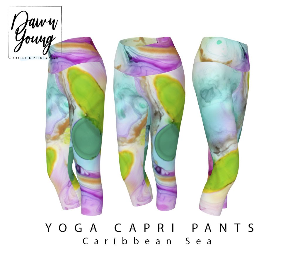 abstract art print yoga pants