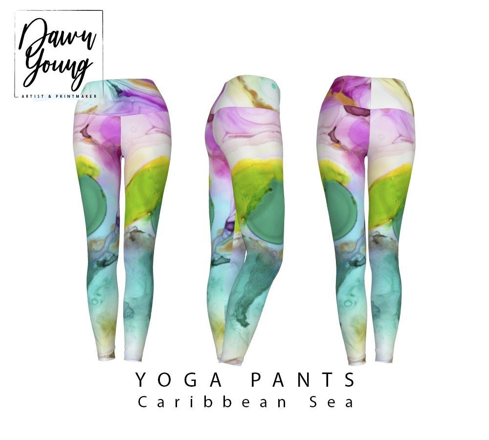 abstract print long yoga pants