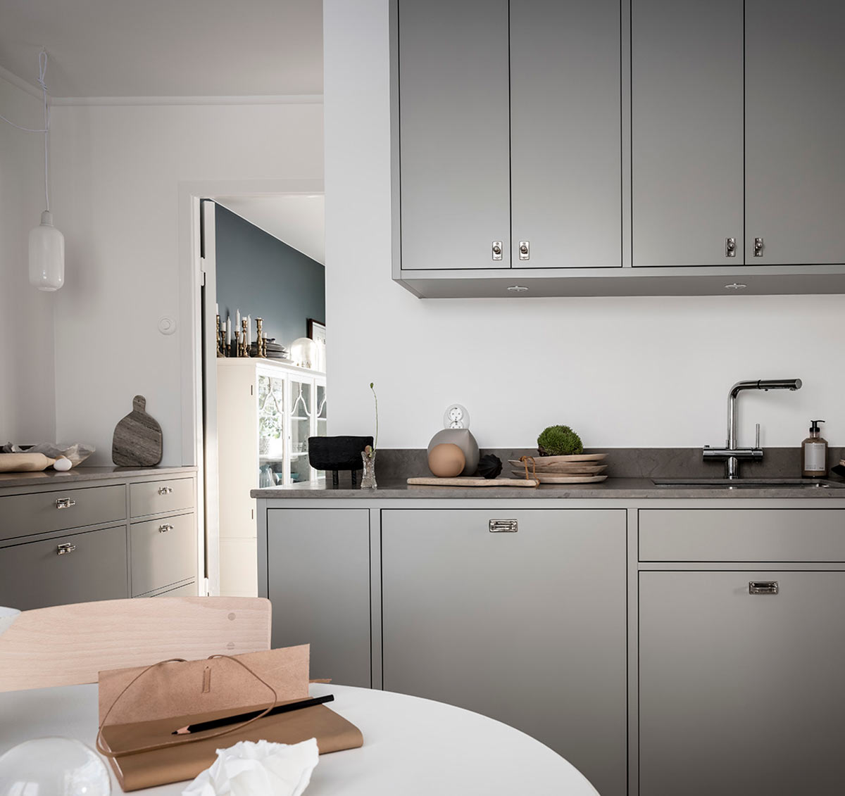Modern in-frame dark grey kitchen inspiration