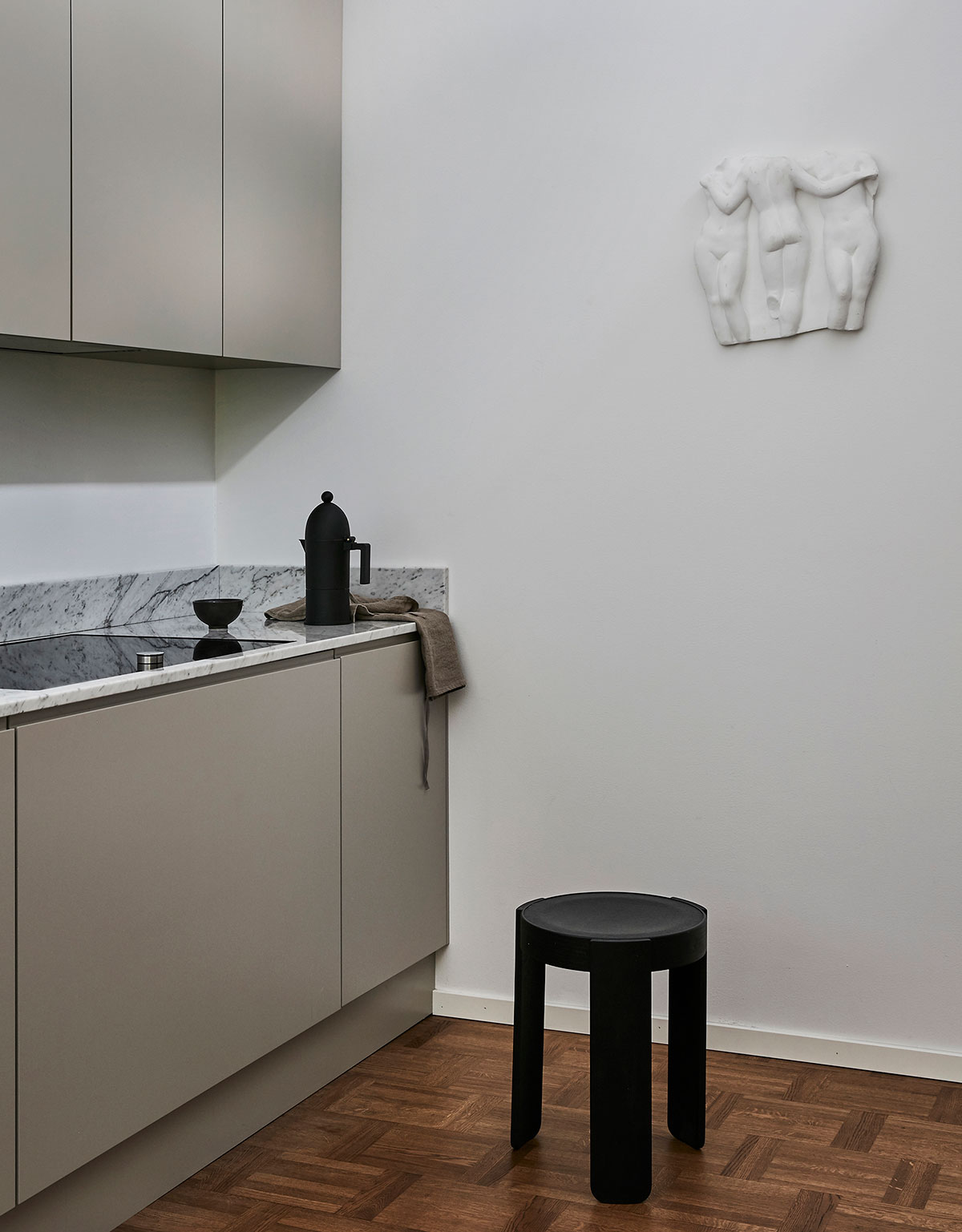 Minimalist grey kitchen in modern nordic design