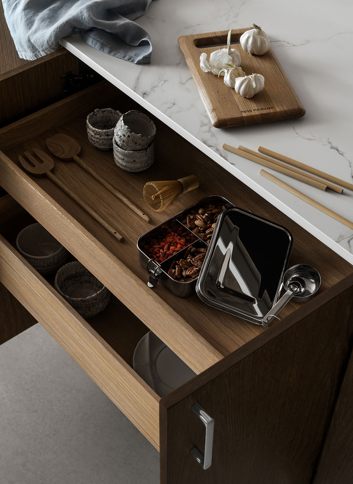 Food pharmacy recipe for a solid oak kitchen