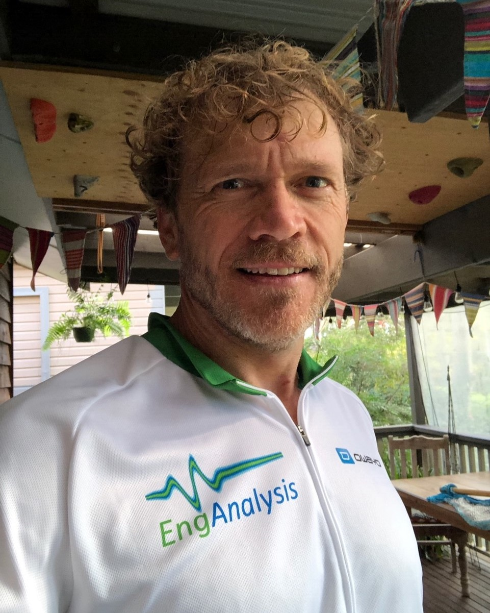 John Vazey, founder and Managing Director rocking the EngAnalysis cycle jersey