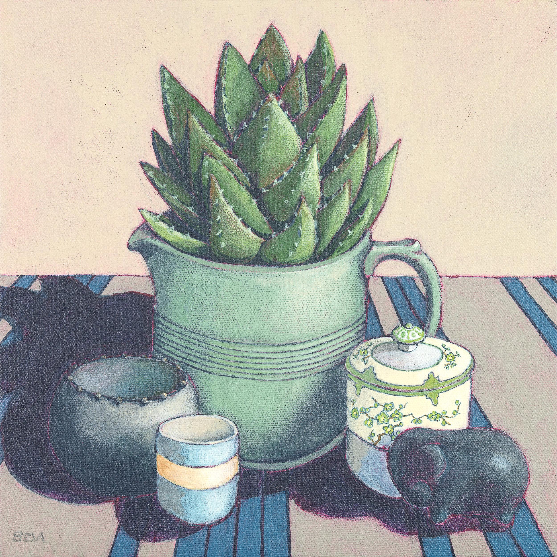Sue Eva-The Green Jug with Noritake Sugar_2018_Acrylic on Canvas_30cm x 30cm.jpg