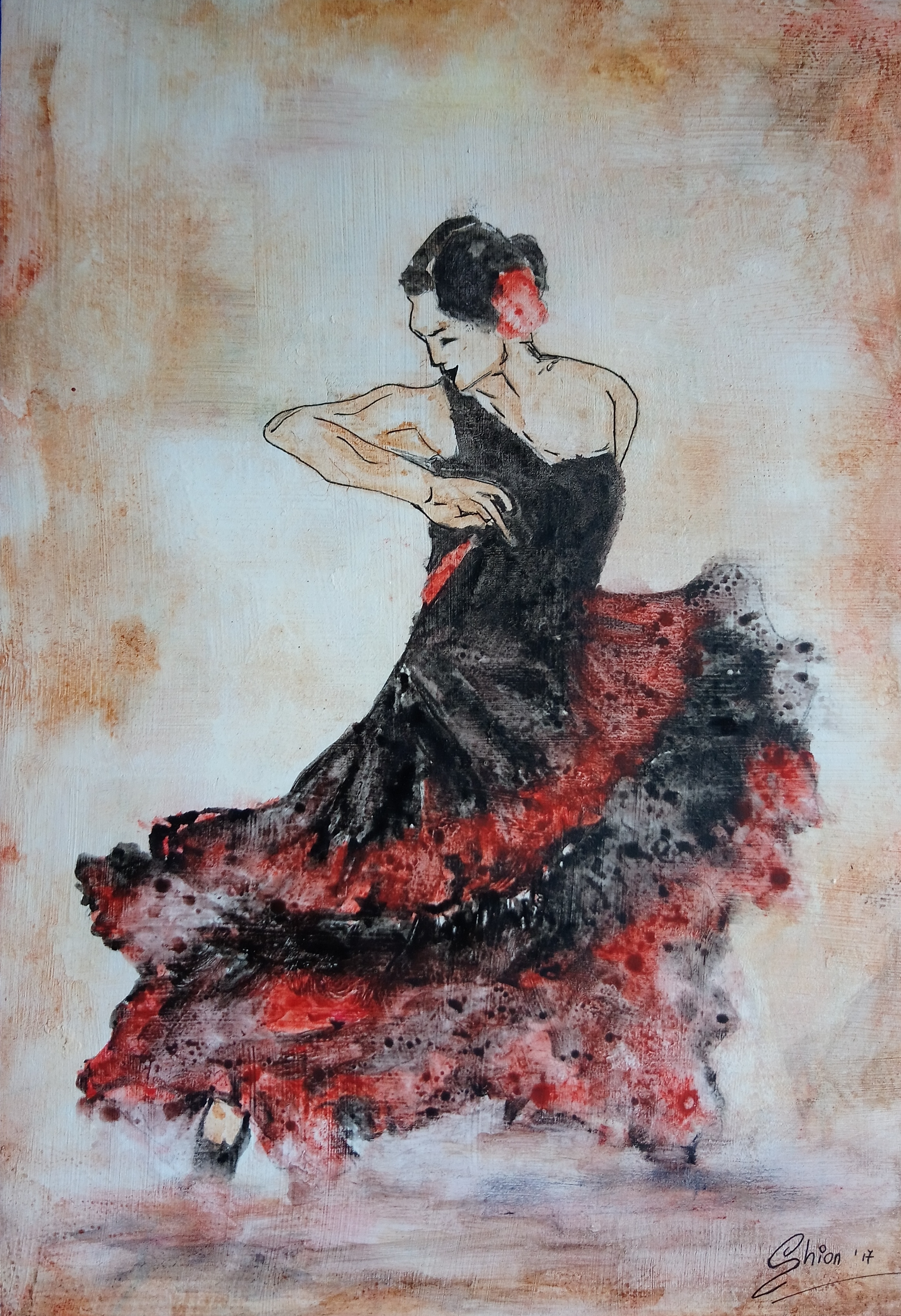 SilviaBusetto_FlamencoDancer_2017_WatercolourOnGesso_29x20cm.jpg