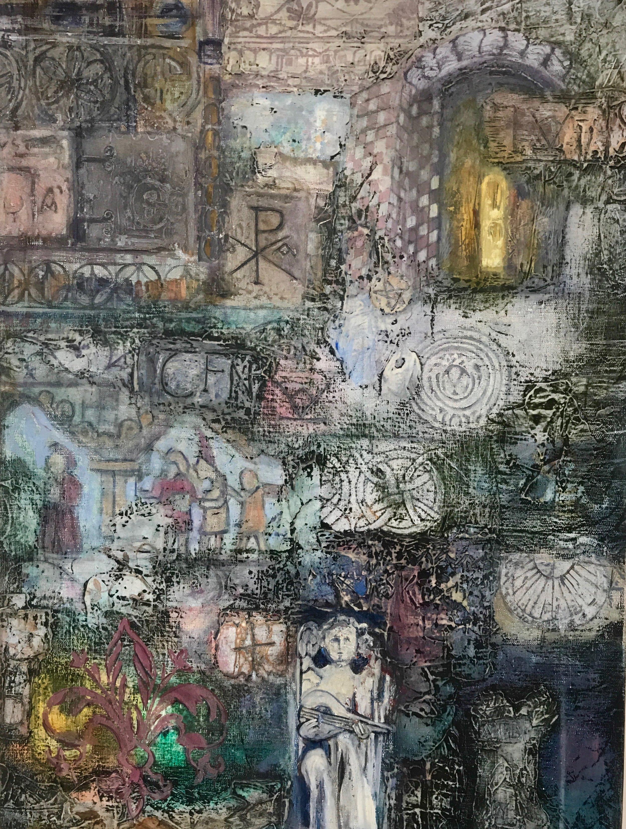 Wendy Castleden.stories in stone 2018 mixed media on canvas 60x45cmjpg.jpg