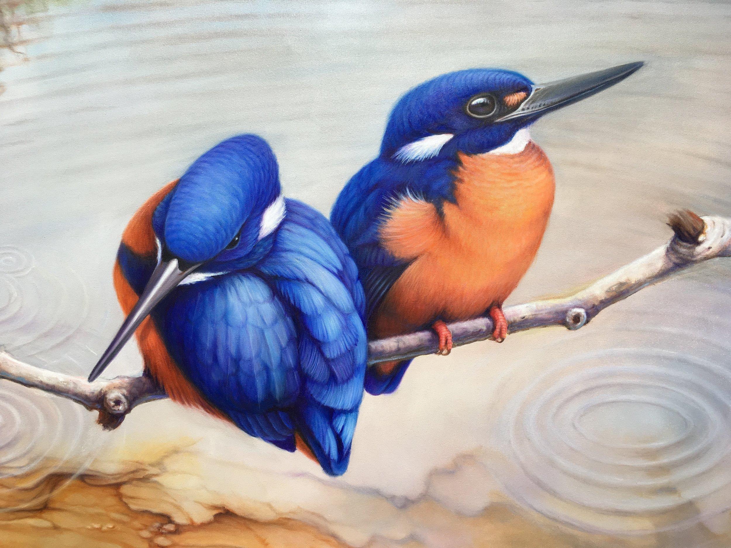 Susan Hood. Azure Kingfishers,2018,Oil,180cm x 90cm.jpg