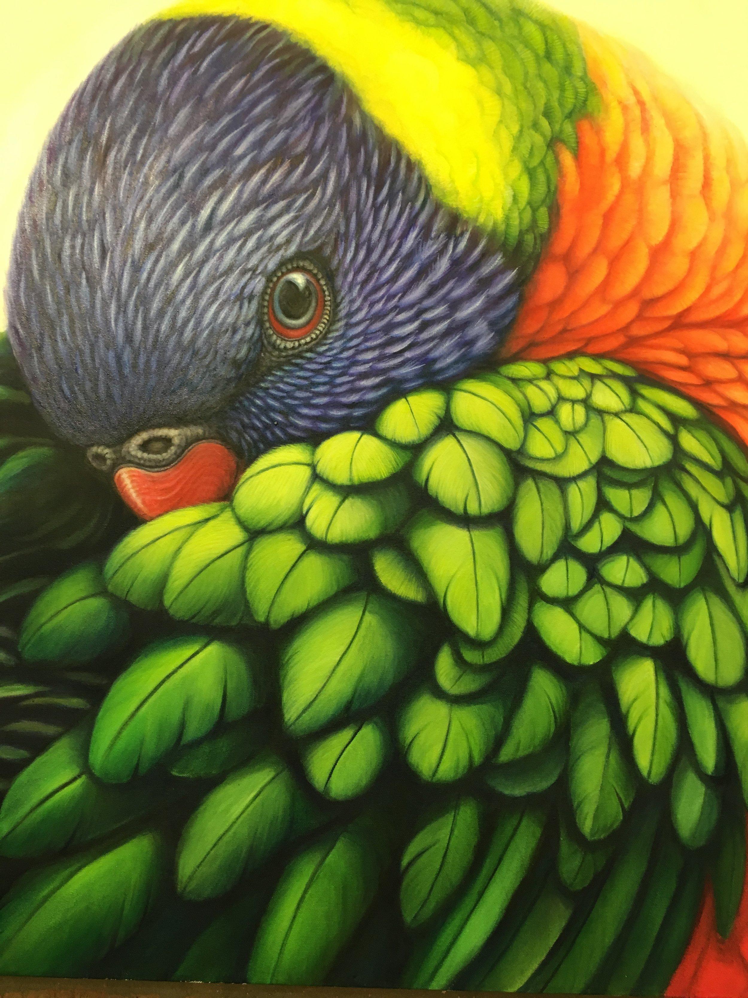 Susan Hood,Rainbow Lorikeet,2018,Acrylic & Oil, 1m x 1m.jpg