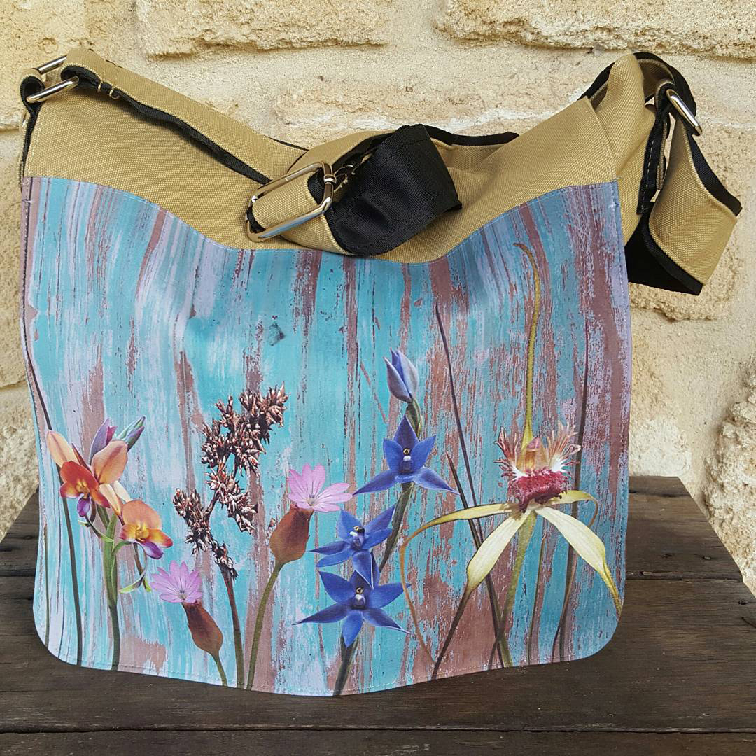 Leonie Mac Lean-Yallingup Orchids on Distressed Wood-2017-Travel Bag-w40xh30cm.jpg