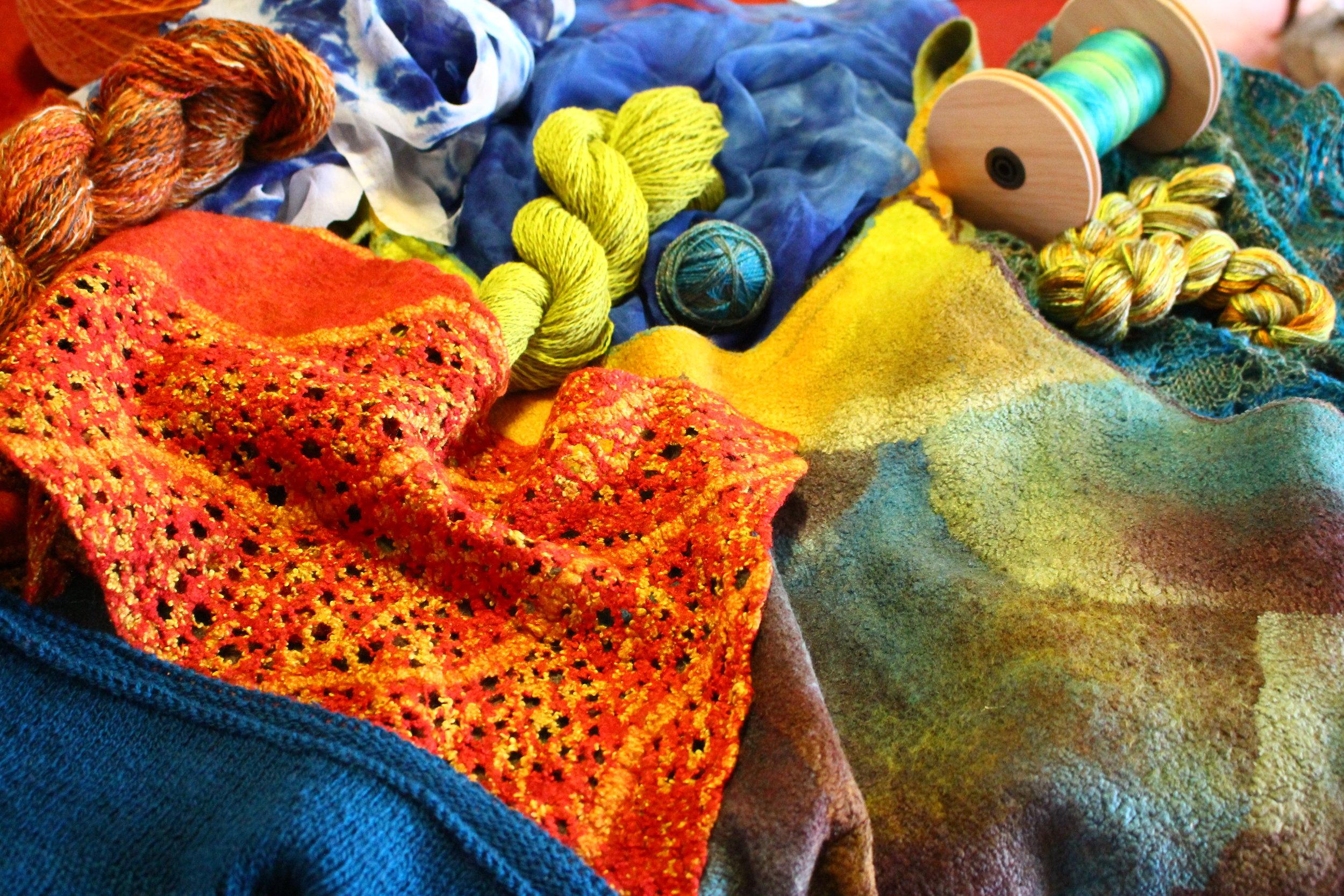 Lee Nash Various items 2017-18 Silks felted,spun, woven, dyed.JPG