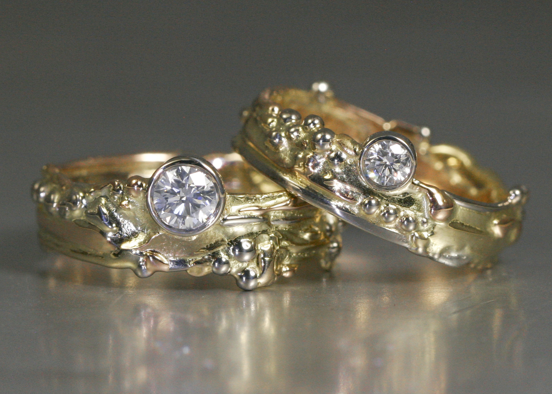 John Miller Design His and Hers Mixed Golds and Diamond Ring Set 2018 18Carat.jpg