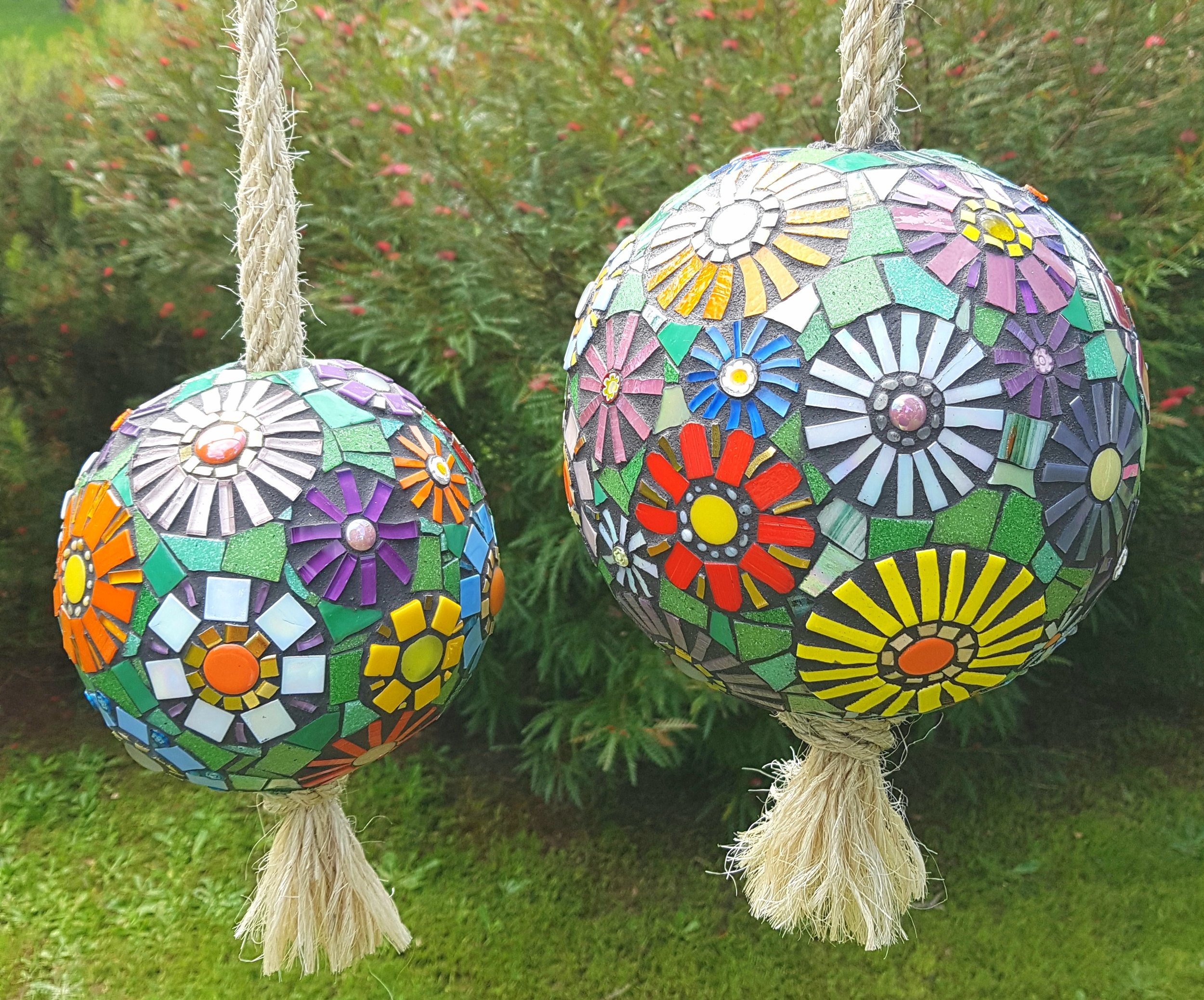 joanna alferink_2018_mosaic spheres_mixed media on polystyrene float_15cm and 20cm.jpg
