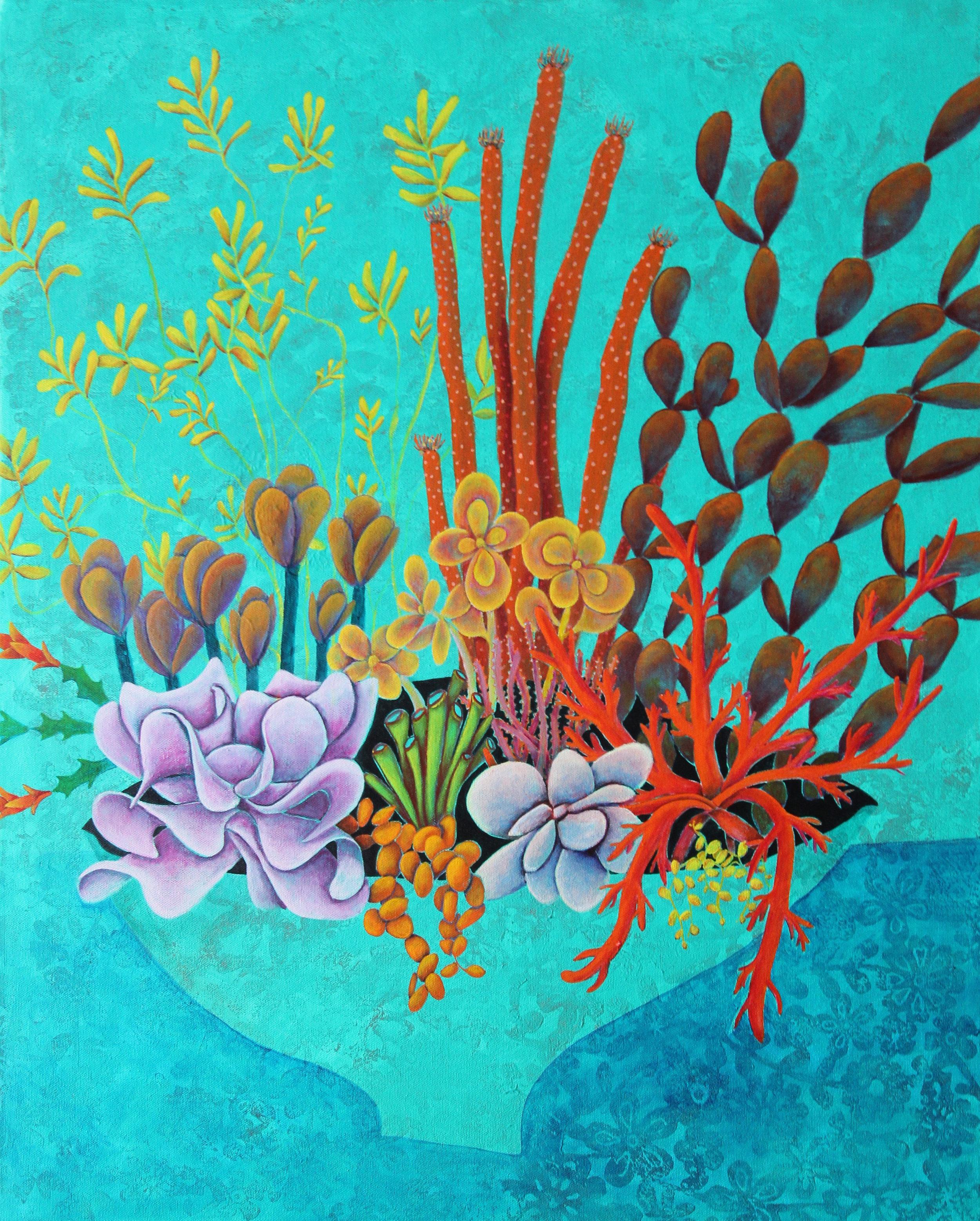 janine gasbarri. flowers on blue.2018.acrylic on canvas.jpg