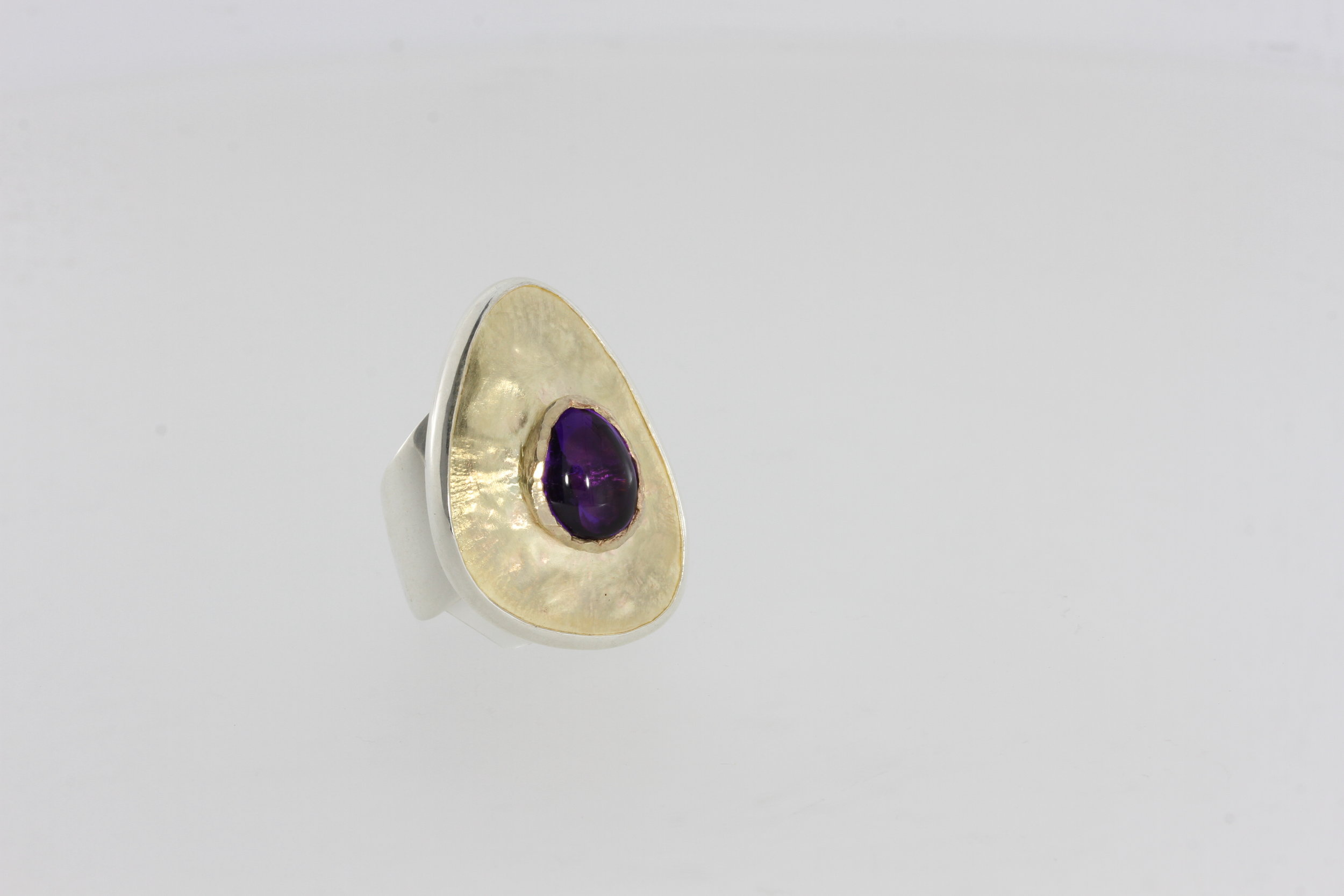 Payet 9ct gold and silver ring with cabuchon amethyst.jpg