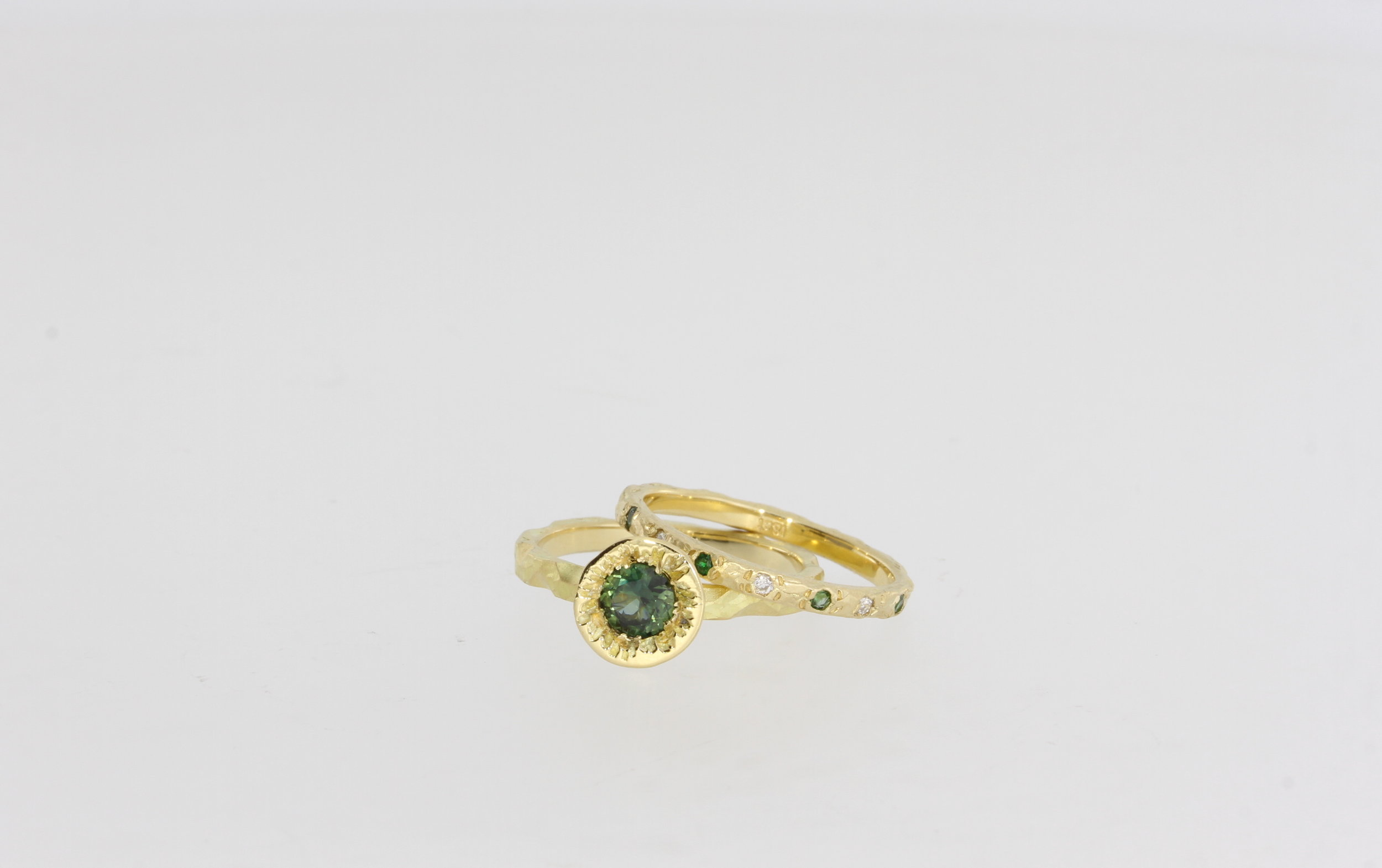 Payet 18ct yellow gold ring set with green sapphire diamonds & tourmalines.jpg