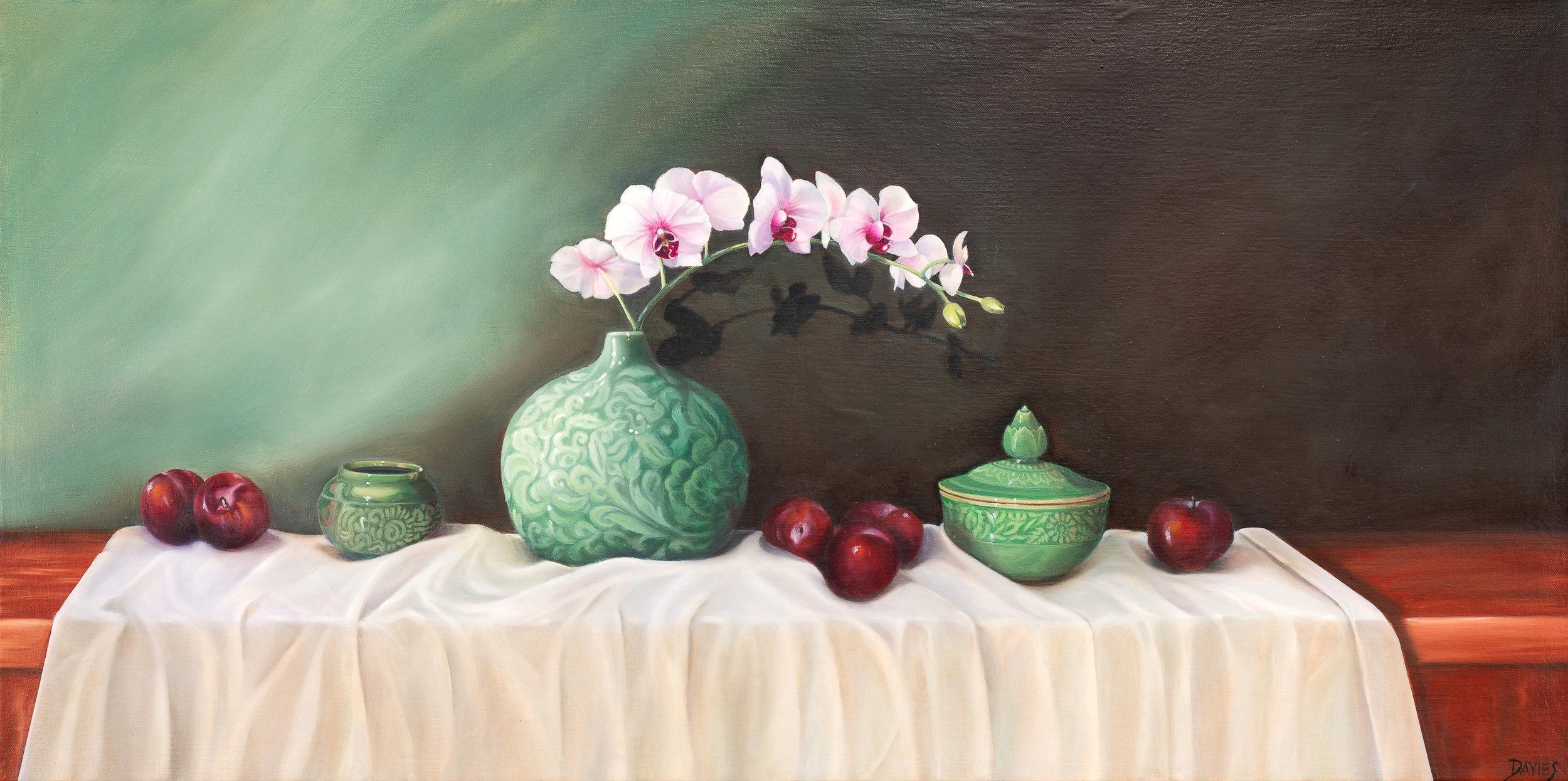 Dorothy Davies, Celadon Inflorescence,2018,Oil on canvas,600x1200.jpg