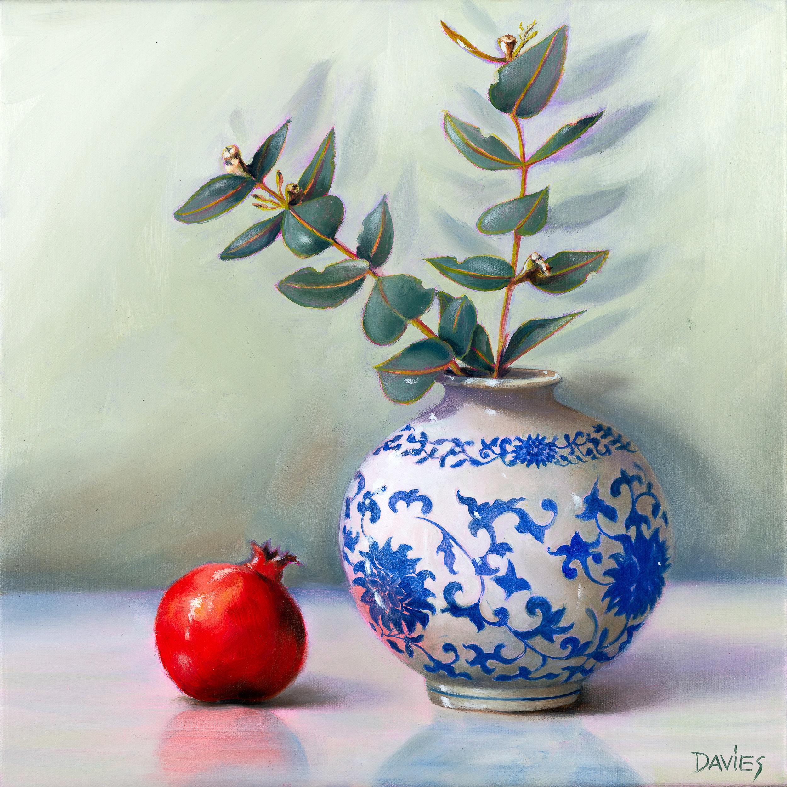 Dorothy Davies,Pomegranate Reflection,2018,Oil on canvas,400x400.jpg