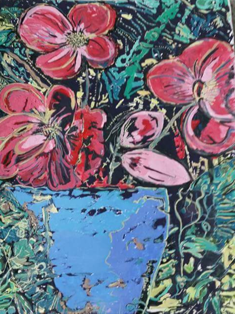 Chris Seatory Blue Vase with Flowers 2016 mixed media 20ck X30cm.jpg