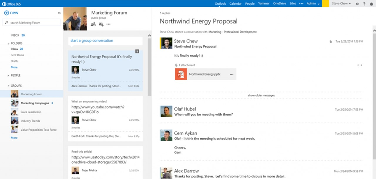 Yammer groups in Outlook. Lezen Yammer Group timeline in preview pane