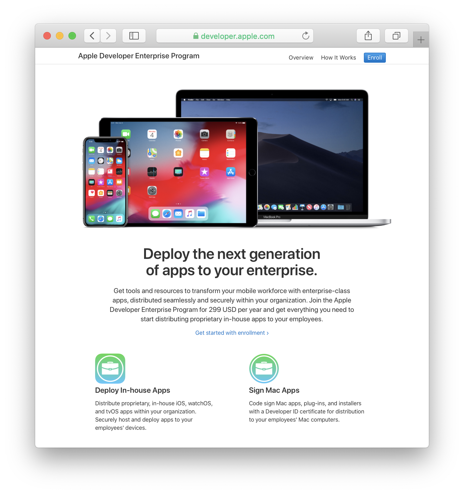 The Apple Developer Enterprise Program lets you distribute your in-house apps to your own employees