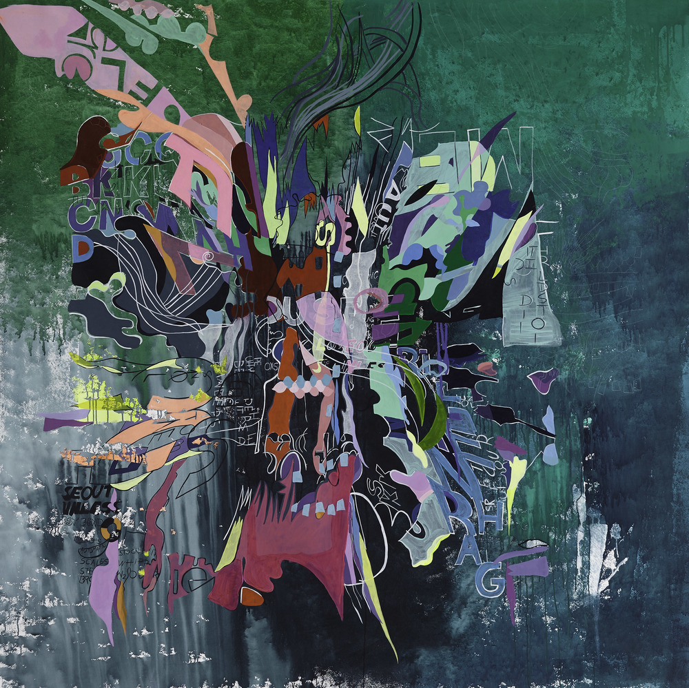 2nd Prize   'A-diccion' by Paula Nahmod  Acrylic on canvas 78″ x 78″ 2015