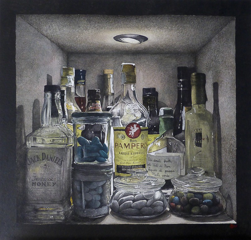 'Welcome to my personal bar' by Giovanni Balzarani Watercolour on paper 38×38 cm