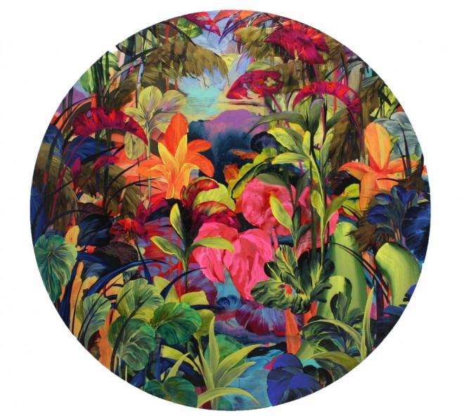 'Caraili' by Orlanda Broom Acrylic, resin and varnish on canvas 120cm diameter 2015