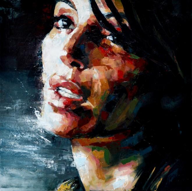 'You Tell Me' by Sal Jones Oil Paint 50 x 50cm 2016