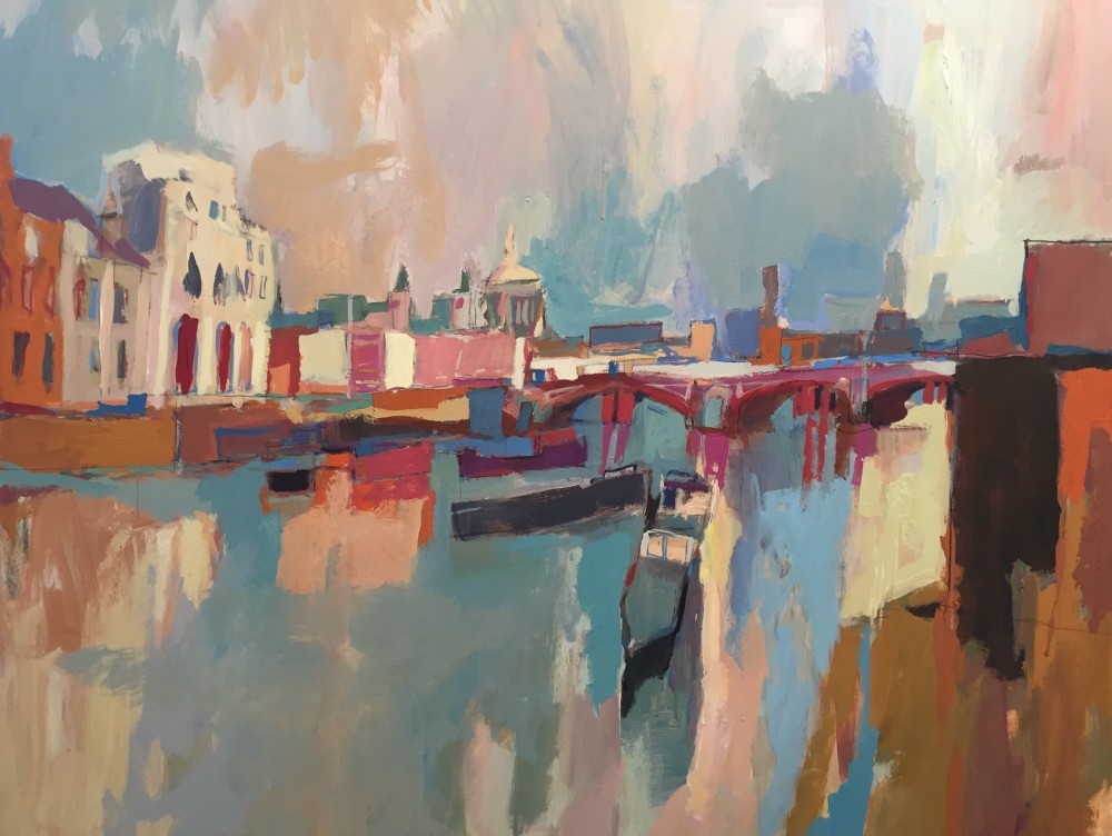 'Thames at low tide' by Paul Bell Acrylic on canvas 100x80cm 2015   WATCH PAUL PAINT 'THAMES AT LOW TIDE'