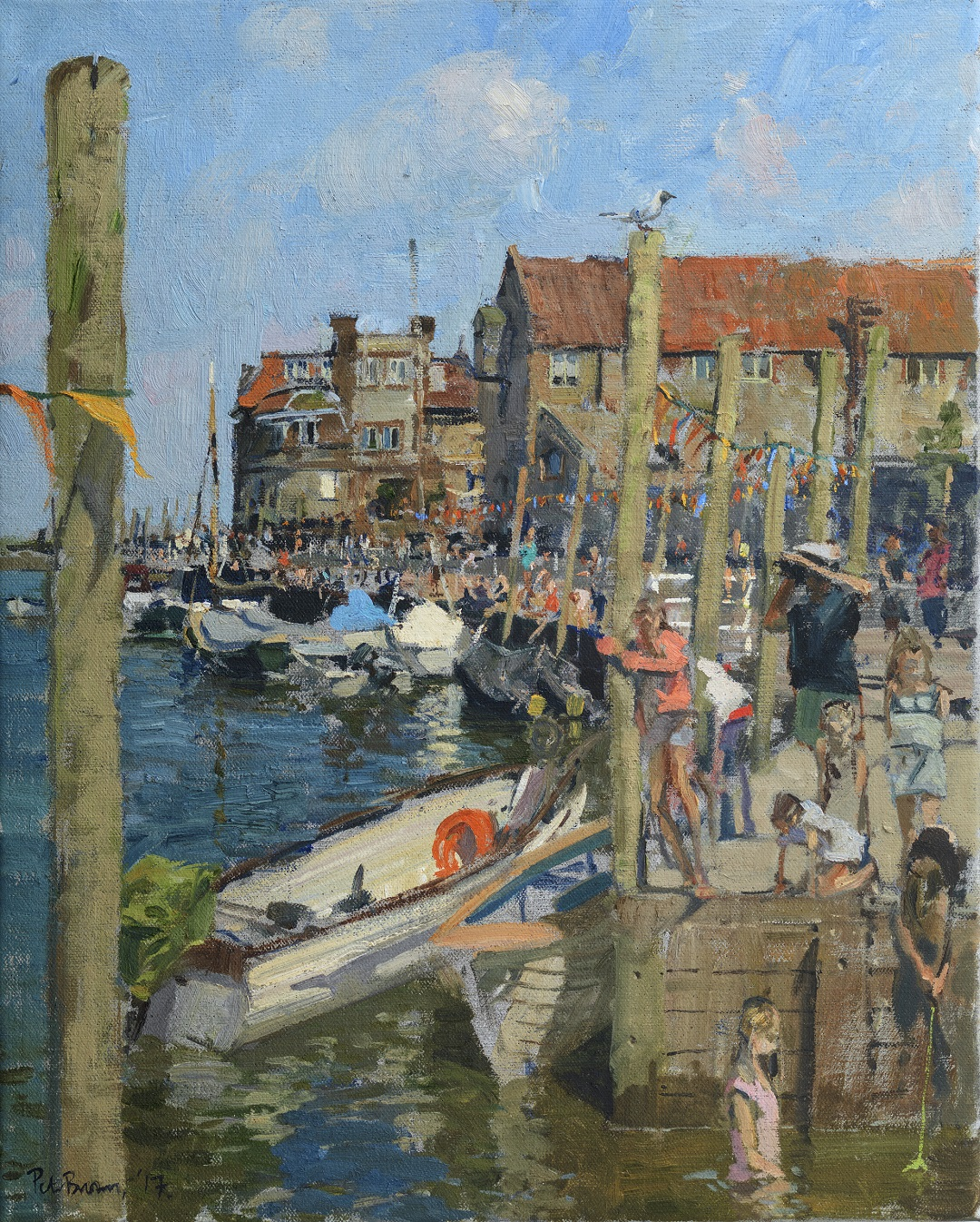 'Crabbing at Blakeney' Peter Brown Oil on canvas 20″ x 16″ 2017
