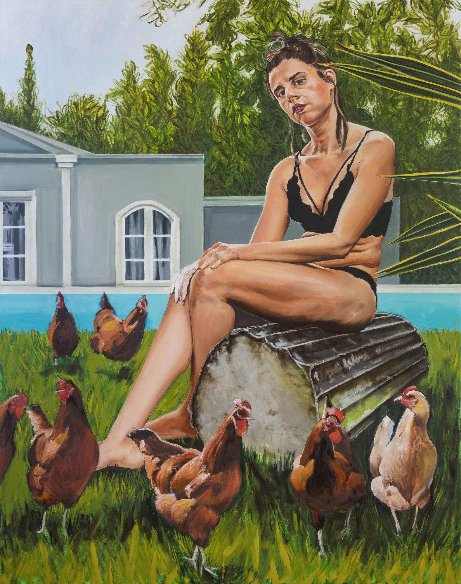 Stella Kapezanou, Penelope's wait, Oil on linen, 180cm x140cm x4cm,  http://www.stellakapezanou.com