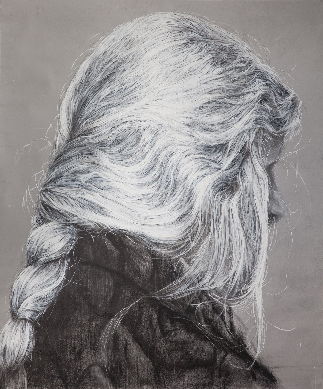 Jovanka Stanojevic, Hair 14, Acrylic, dry pastel on paper, 165x130cm
