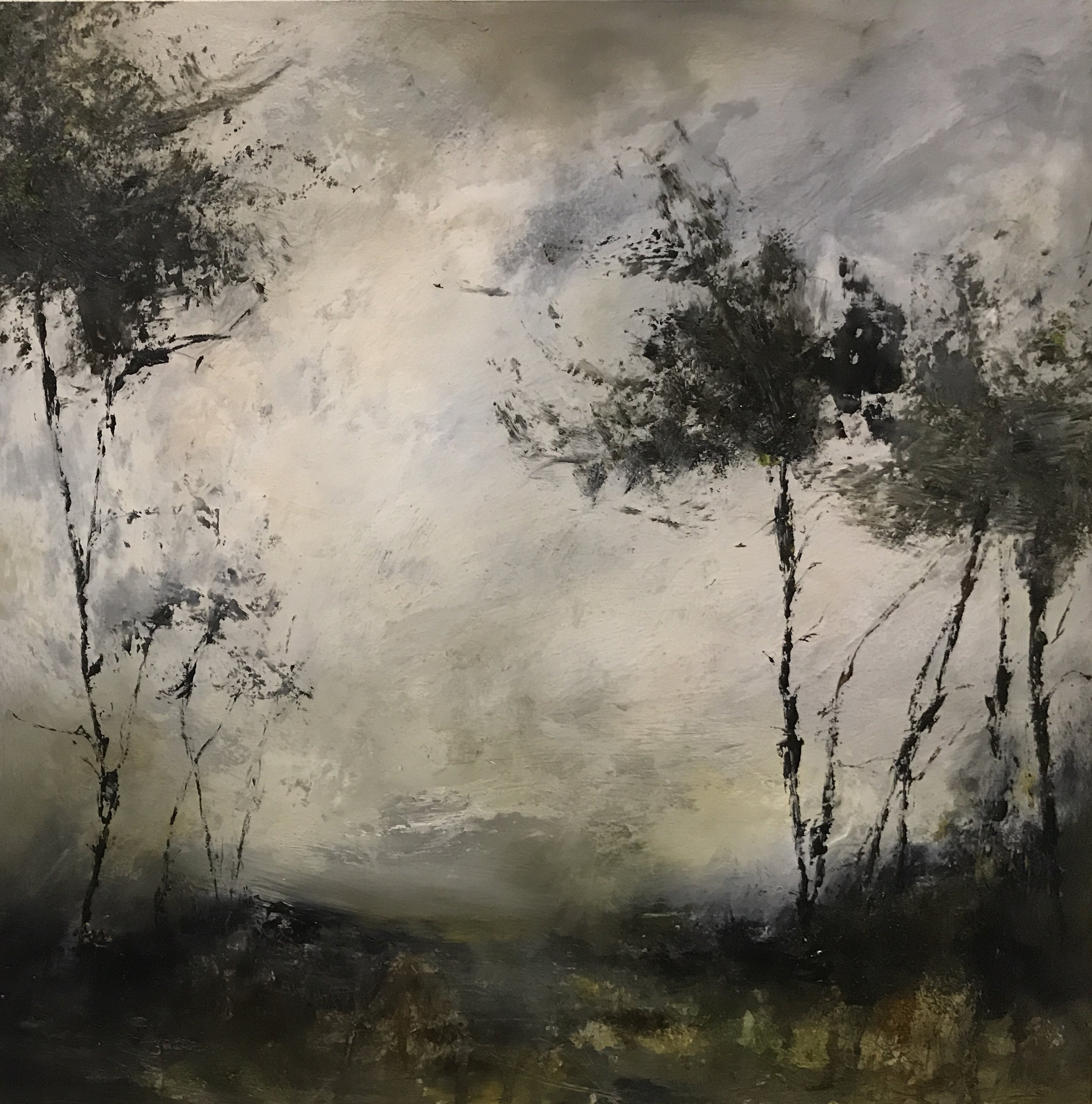 Rachel arif, Woodwind, Oil on wood panel, 45cm x 45cm x 3.5cm,  http://www.rachelarifart.com
