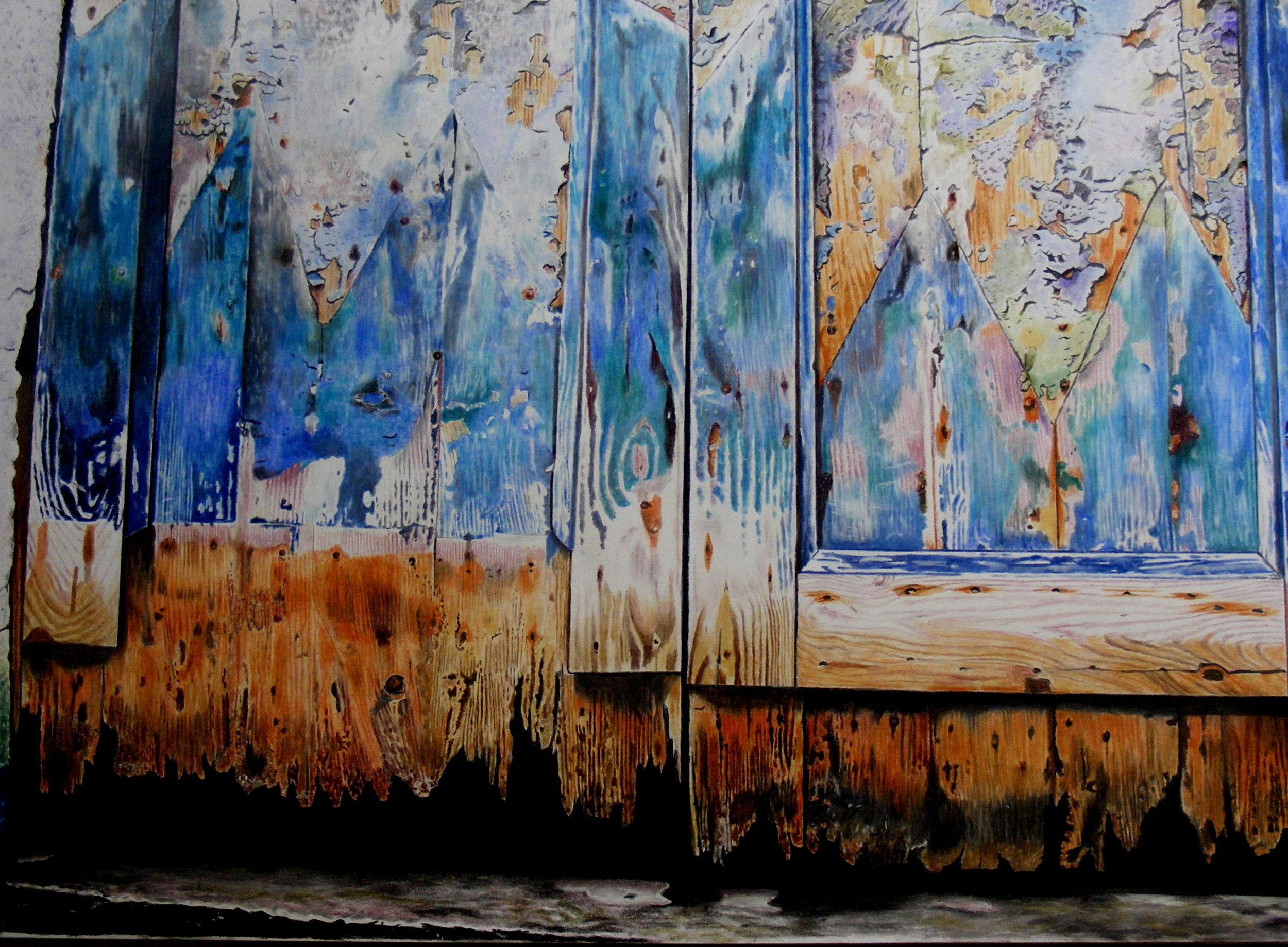 Jayne Morgan, Venetian door by canal's edge, Pastel pencils on paper, 49 x 55 cm x 1 cm,