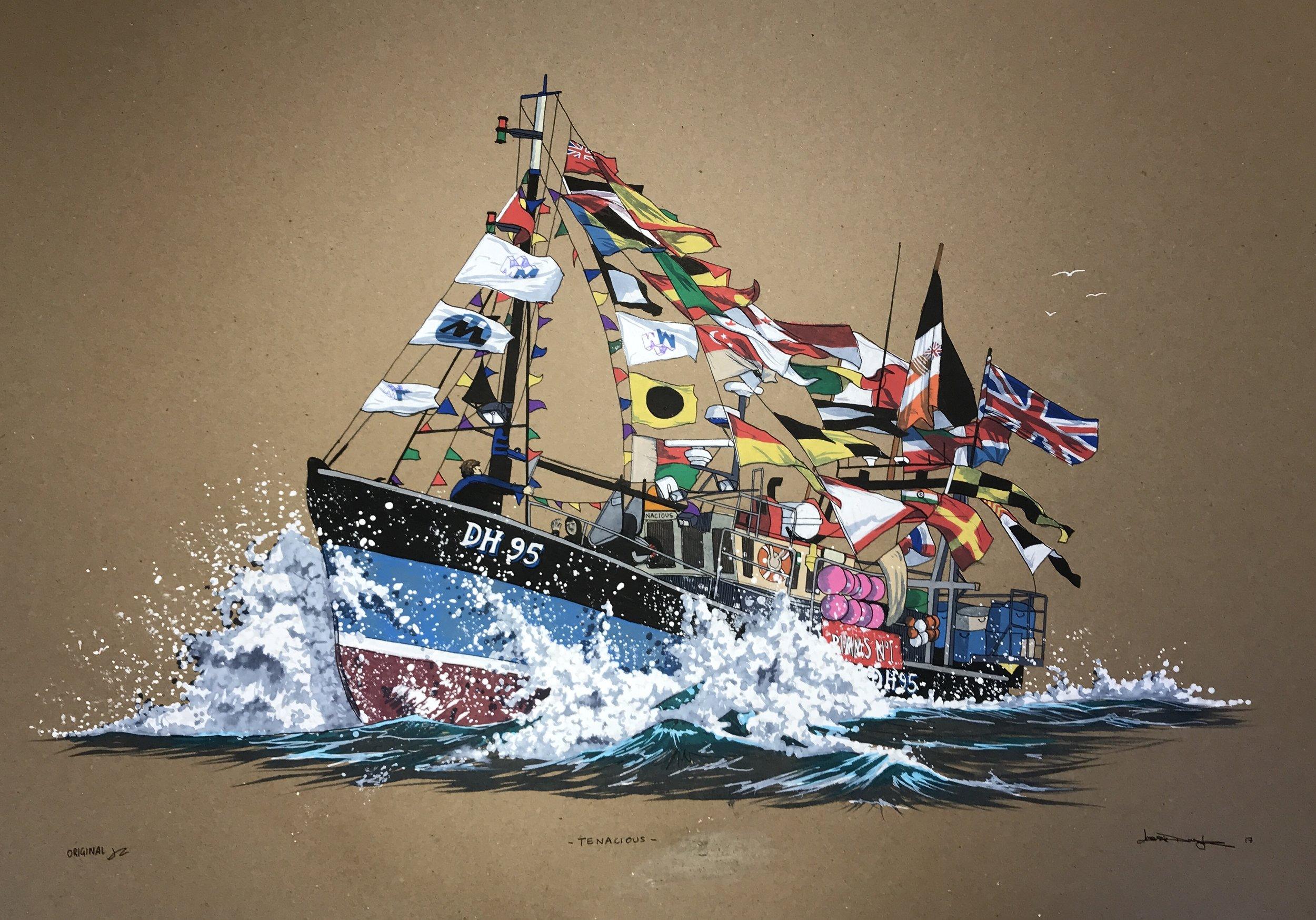 Jess Douglas, Salcombe Trawler Race, Acrylic Paint Pens - UNI Posca,, A2,  http://www.jessdouglas.com