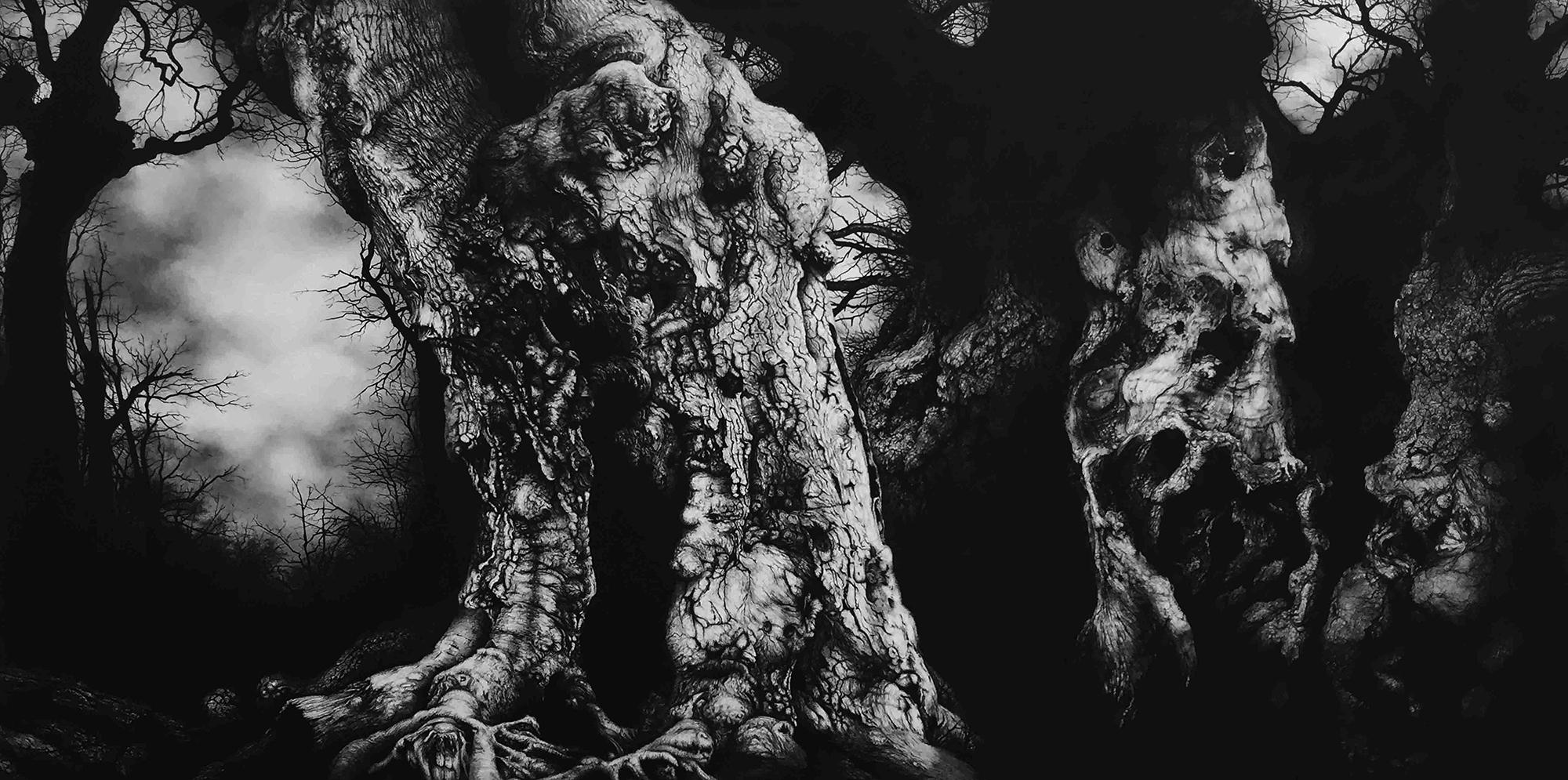 Blaze Cyan, Windsor Forest, Charcoal & Conte on Paper mounted on wood, 66cm x 126cm x 4cm,  https://www.blazecyan.com
