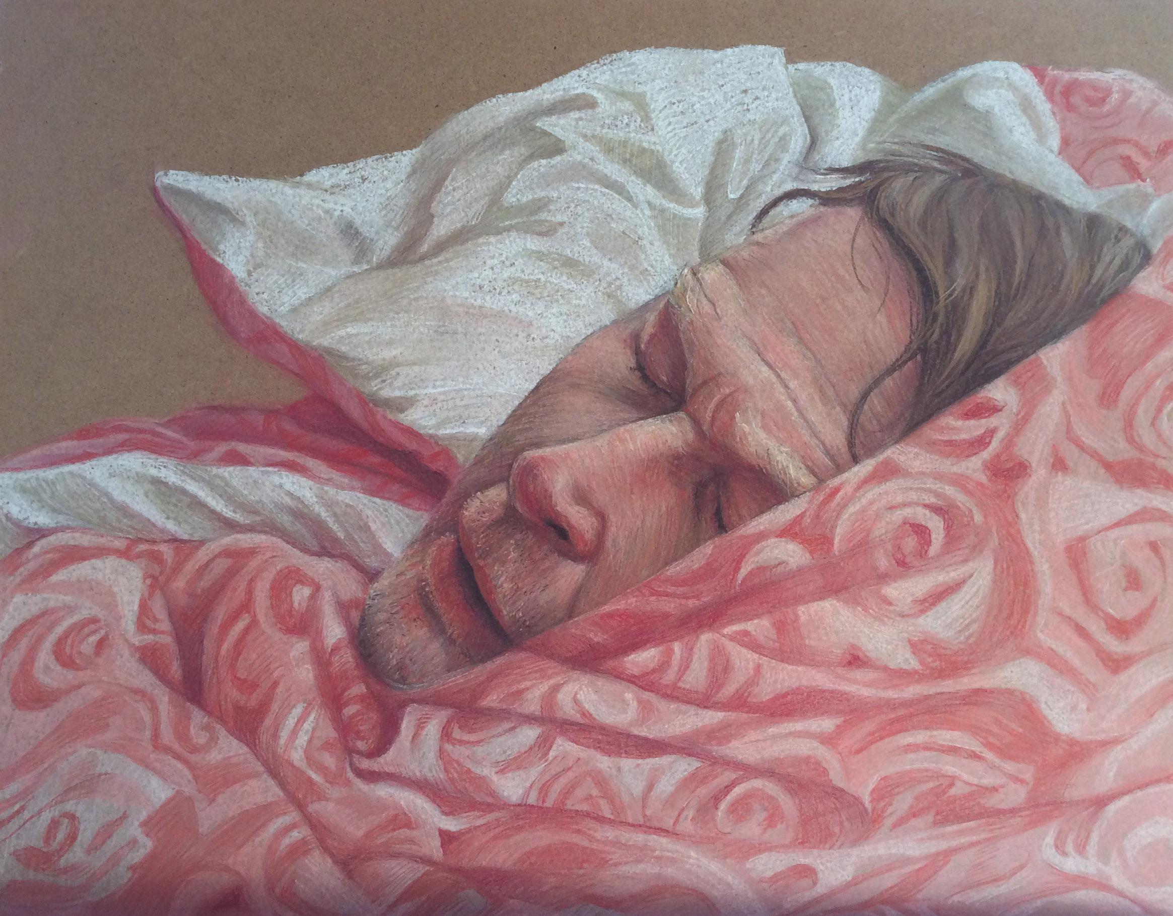 Merlyn Harvey, After Nightshift, Rembrandt soft pastels on board, height 40 cm x width 50 cm x depth 0.3cm, unframed,  https://www.behance.net/merlyngudgeonharvey